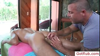 Hot gay stud getting his cock oiled and massaged by gotrub