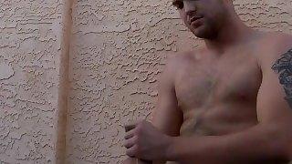 Jock Billy Club chills in jacuzzi during masturbation