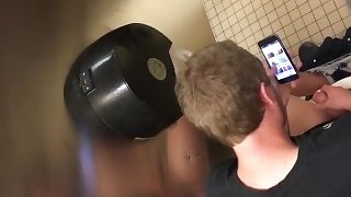 Spy Str8 Over stall hard cock jerking nice looking dude