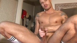 My beautiful gym trainer made a porn where he gets wanked by 2 guys !