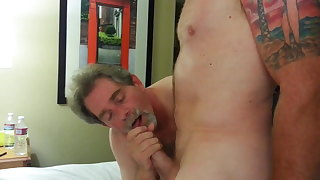 Hot Daddy Sucks A Young Cock