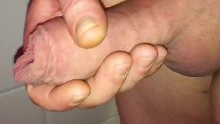 Long foreskin uncut cock close up cumshot