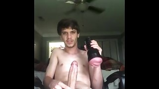 Alan Provins Strips And Strokes Cock with Fleshlight Till He Cums Inside!