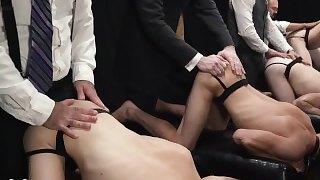 BOYFORSALE - Orgy - 4 Boy Slaves Bred Bareback by 4 Hung Dom Daddies