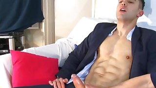 In suit trouser insurrer serviced his big dick by guys. Aleksander