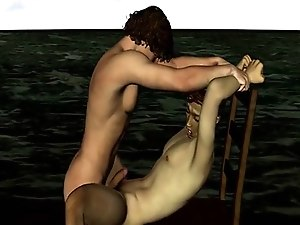 3D cartoon stud sucks cock and gets fucked on the beach
