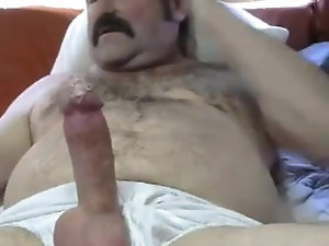 Sexy mustache dad cums twice in two different sessions