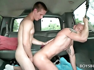 Gay stude riding hard cock in bus