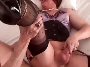 crosdresser gets fucked by older guy, very nice clip