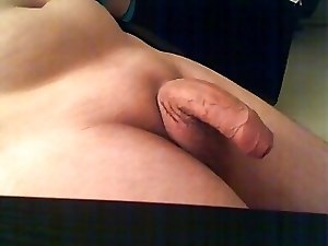 stroking my dick and cum
