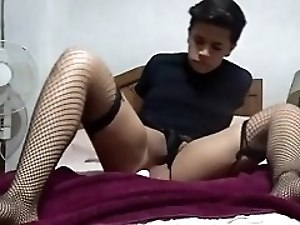 junior crossdresser rides his dildo wildly and cums